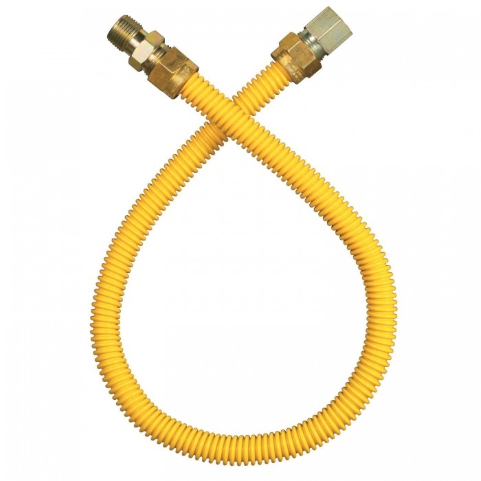 "Dormont 18"" Yellow Coated Flexible Appliance Connector 1/2"" Fittings"