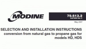 Modine Hot Dawg Conversion Kit to LP or to Natural Gas